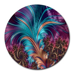 Feather Fractal Artistic Design Round Mousepads