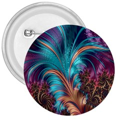 Feather Fractal Artistic Design 3  Buttons
