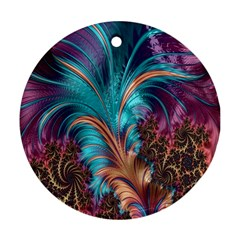 Feather Fractal Artistic Design Ornament (Round)