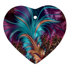 Feather Fractal Artistic Design Ornament (Heart)