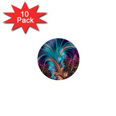 Feather Fractal Artistic Design 1  Mini Buttons (10 pack)