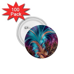 Feather Fractal Artistic Design 1 75  Buttons (100 Pack)