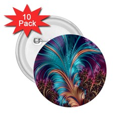 Feather Fractal Artistic Design 2.25  Buttons (10 pack)