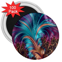 Feather Fractal Artistic Design 3  Magnets (100 Pack)