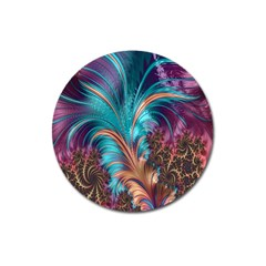 Feather Fractal Artistic Design Magnet 3  (Round)