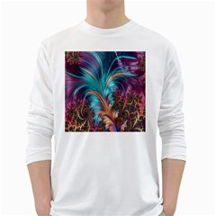 Feather Fractal Artistic Design White Long Sleeve T Shirts