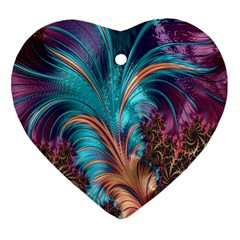 Feather Fractal Artistic Design Heart Ornament (Two Sides)