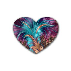 Feather Fractal Artistic Design Rubber Coaster (Heart)