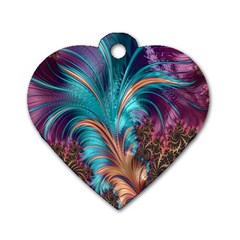 Feather Fractal Artistic Design Dog Tag Heart (One Side)