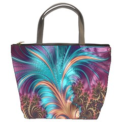 Feather Fractal Artistic Design Bucket Bags