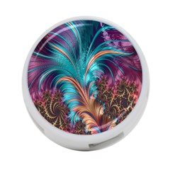 Feather Fractal Artistic Design 4-Port USB Hub (Two Sides)