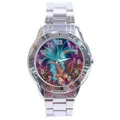 Feather Fractal Artistic Design Stainless Steel Analogue Watch