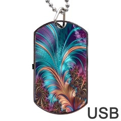 Feather Fractal Artistic Design Dog Tag Usb Flash (one Side)