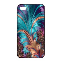 Feather Fractal Artistic Design Apple iPhone 4/4s Seamless Case (Black)