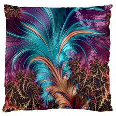 Feather Fractal Artistic Design Large Cushion Case (Two Sides)