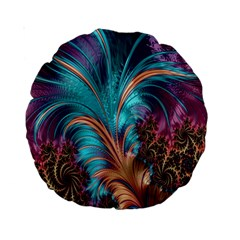 Feather Fractal Artistic Design Standard 15  Premium Round Cushions