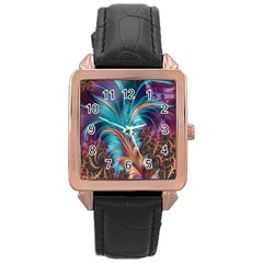 Feather Fractal Artistic Design Rose Gold Leather Watch