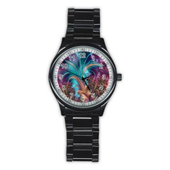 Feather Fractal Artistic Design Stainless Steel Round Watch
