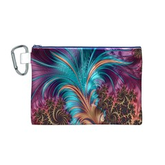 Feather Fractal Artistic Design Canvas Cosmetic Bag (M)