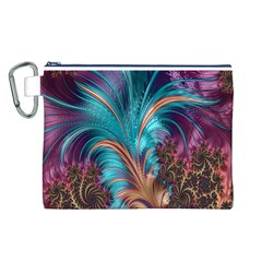 Feather Fractal Artistic Design Canvas Cosmetic Bag (L)