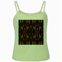 Floral Strings Pattern Green Spaghetti Tank