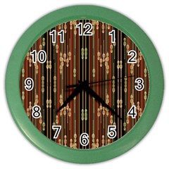 Floral Strings Pattern Color Wall Clocks