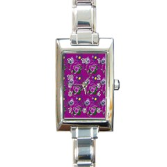 Flower Pattern Rectangle Italian Charm Watch