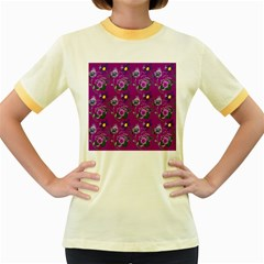 Flower Pattern Women s Fitted Ringer T Shirts