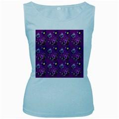 Flower Pattern Women s Baby Blue Tank Top