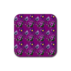 Flower Pattern Rubber Square Coaster (4 pack)