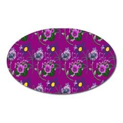 Flower Pattern Oval Magnet