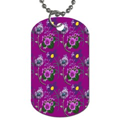 Flower Pattern Dog Tag (One Side)