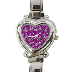 Flower Pattern Heart Italian Charm Watch