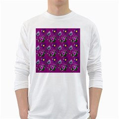 Flower Pattern White Long Sleeve T-Shirts