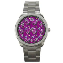 Flower Pattern Sport Metal Watch