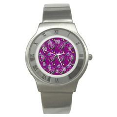 Flower Pattern Stainless Steel Watch