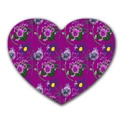 Flower Pattern Heart Mousepads