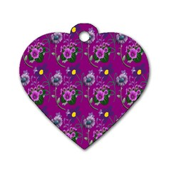 Flower Pattern Dog Tag Heart (one Side)