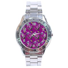 Flower Pattern Stainless Steel Analogue Watch
