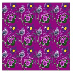 Flower Pattern Large Satin Scarf (square)