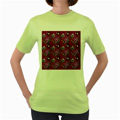 Flower Pattern Women s Green T Shirt