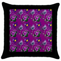 Flower Pattern Throw Pillow Case (Black)