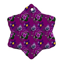 Flower Pattern Snowflake Ornament (Two Sides)