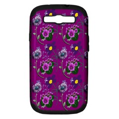 Flower Pattern Samsung Galaxy S III Hardshell Case (PC+Silicone)
