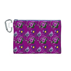 Flower Pattern Canvas Cosmetic Bag (m)