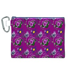 Flower Pattern Canvas Cosmetic Bag (XL)
