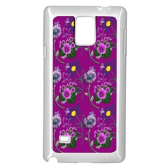 Flower Pattern Samsung Galaxy Note 4 Case (White)