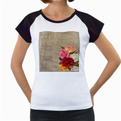 Flower Floral Bouquet Background Women s Cap Sleeve T