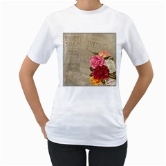 Flower Floral Bouquet Background Women s T-Shirt (White) (Two Sided)