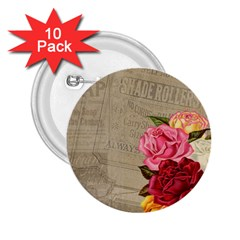 Flower Floral Bouquet Background 2 25  Buttons (10 Pack)